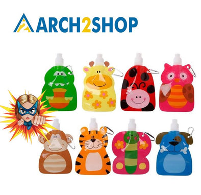 360 ml Eco Friendly Foldable Cartoon Animal Water Bag Drink Bottle