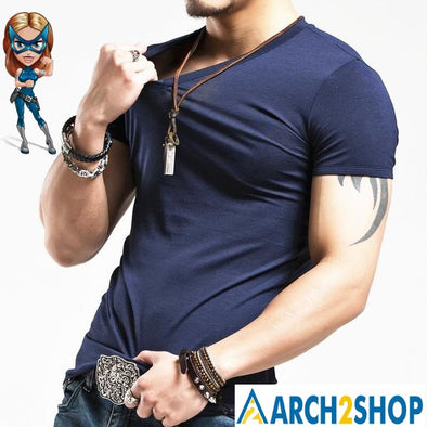 2018 V neck Men's T Shirt Men Fashion Tshirts Fitness Casual For Male - arch2shop.com