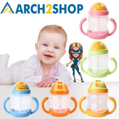 280ml Children Learn Feeding Drinking Water Straw Training Cup