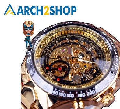 Sport Design Bezel Golden Watch Mens Watches Men Automatic Skeleton Watch - arch2shop.com