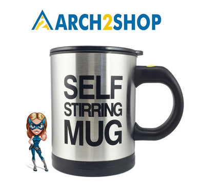 Stainless Steel Surface Cup with Lid Lazy Automatic Self Stirring Mug - arch2shop.com