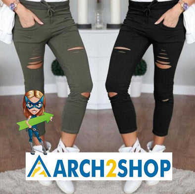 2016 Skinny Jeans Women Denim Pants Holes Destroyed Knee Pencil Pants - arch2shop.com