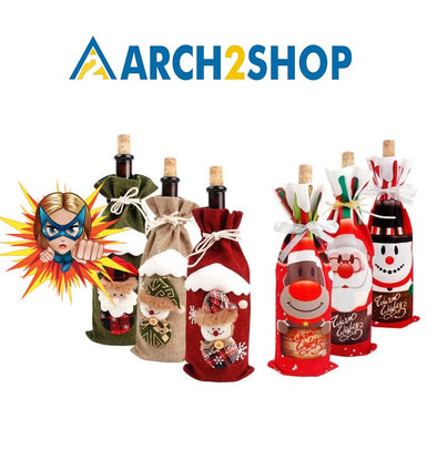 Santa Claus Wine Bottle Cover Gift Holders Xmas Navidad Decor