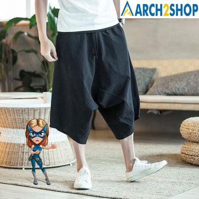 Men Pants Men's Wide Crotch Harem Pants Loose Large Cropped Trousers - arch2shop.com