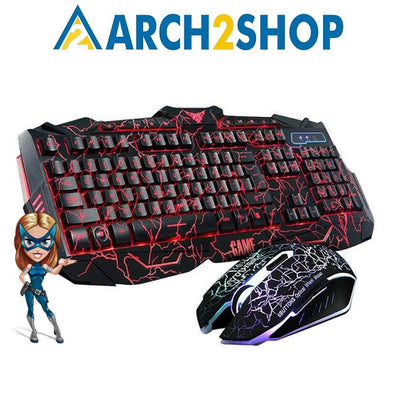 Luminous Backlit Multimedia Ergonomic Gaming Keyboard and Mouse Set - arch2shop.com