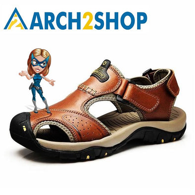 Genuine Leather Sandals Men Casual Shoes sneakers Outdoor Beach Shoes - arch2shop.com