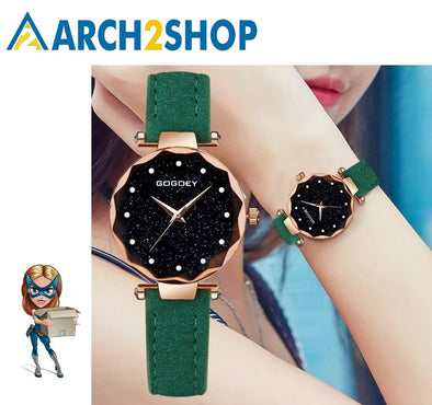 Women Watches romantic starry sky Wrist Watch Rhinestone Design Ladies