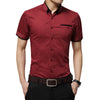 Men's Business Shirt Short Sleeves Turn-down Collar Tuxedo Shirt