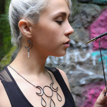 Load image into Gallery viewer, Crescent Leaf Crystal Earrings