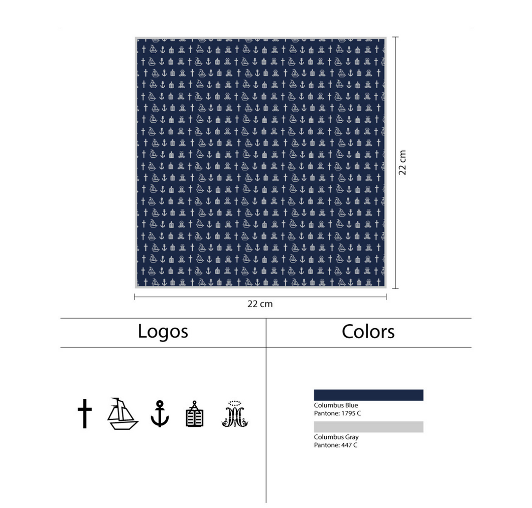 Seal Icons Navy Pocket Square