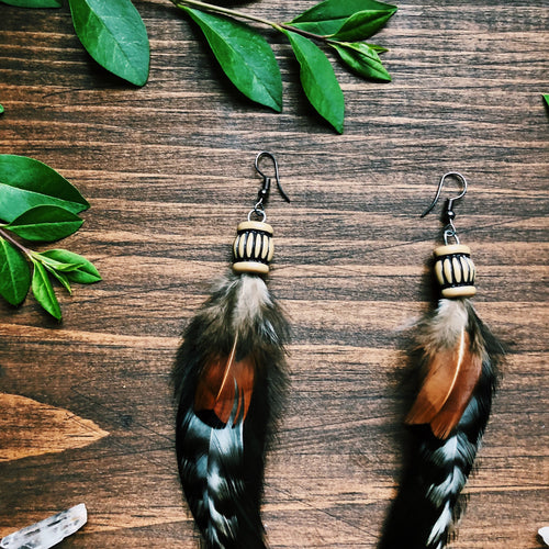 Rooster Tail-Feather Earring Set
