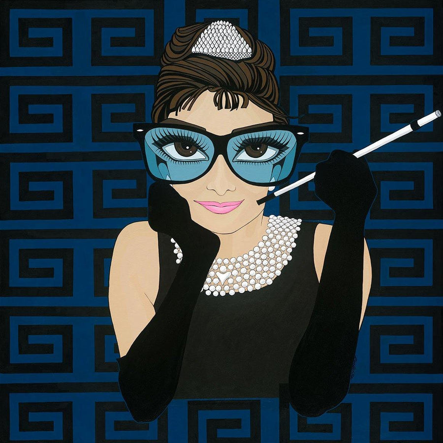 Audrey Hepburn in Black and Blue, Limited Edition Print