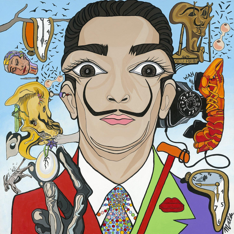 "Salvador Dalí, ""Self-proclaimed Genius"", Original Painting"