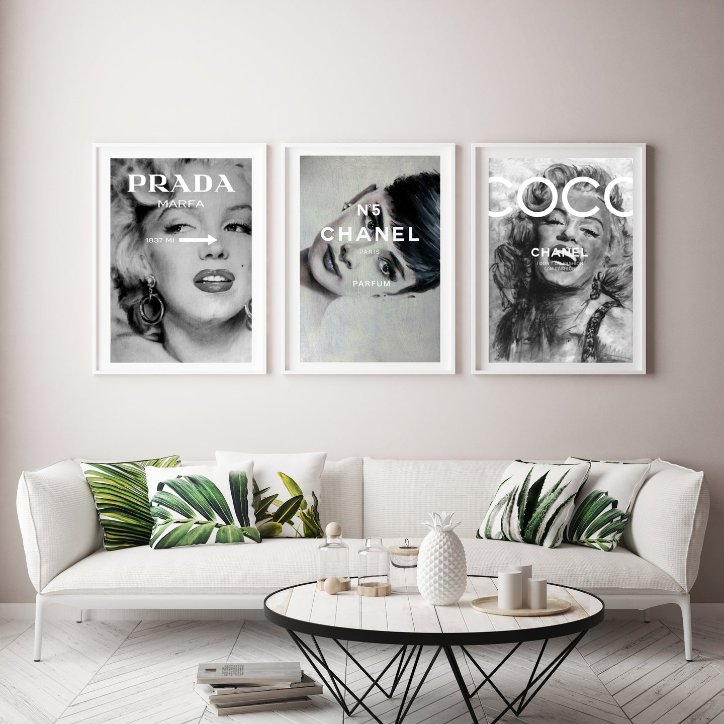 Chanel Prada Marilyn Monroe and Audrey Hepburn print set