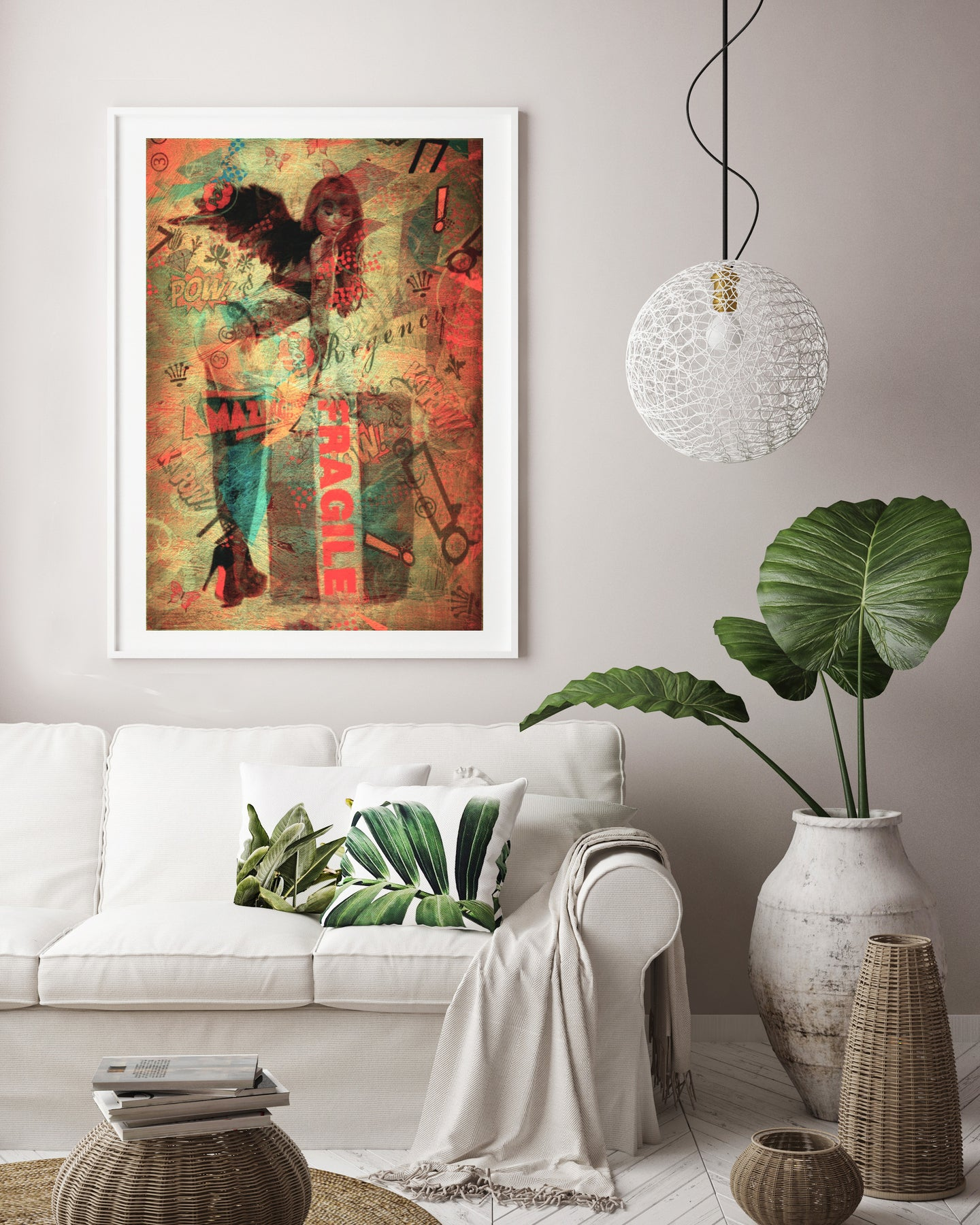 Fragile angel street art print