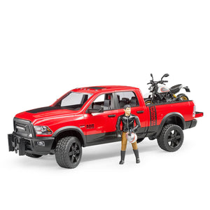 RAM 2500 Power Wagon with Scrambler Ducati Desert Sled and rider