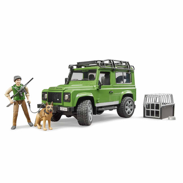 Land Rover Defender Station Wagon with Forester and Dog