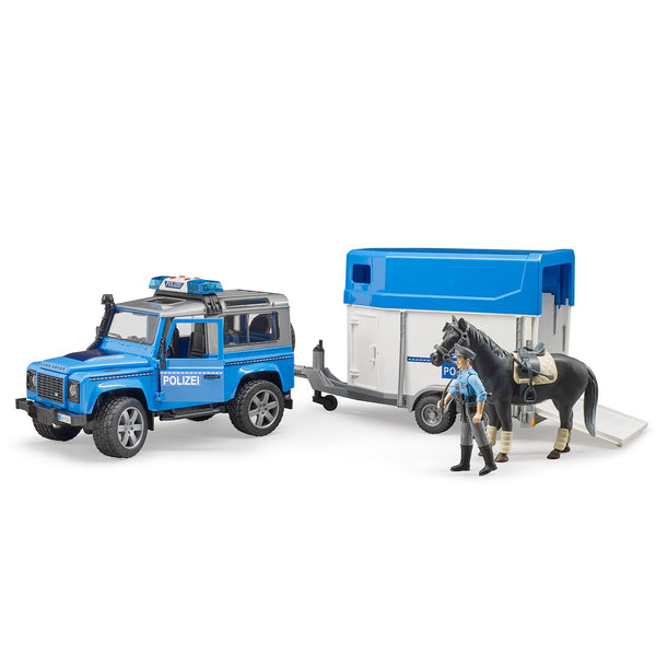 Land Rover Defender police vehicle, horse trailer, 1 horse and policeman