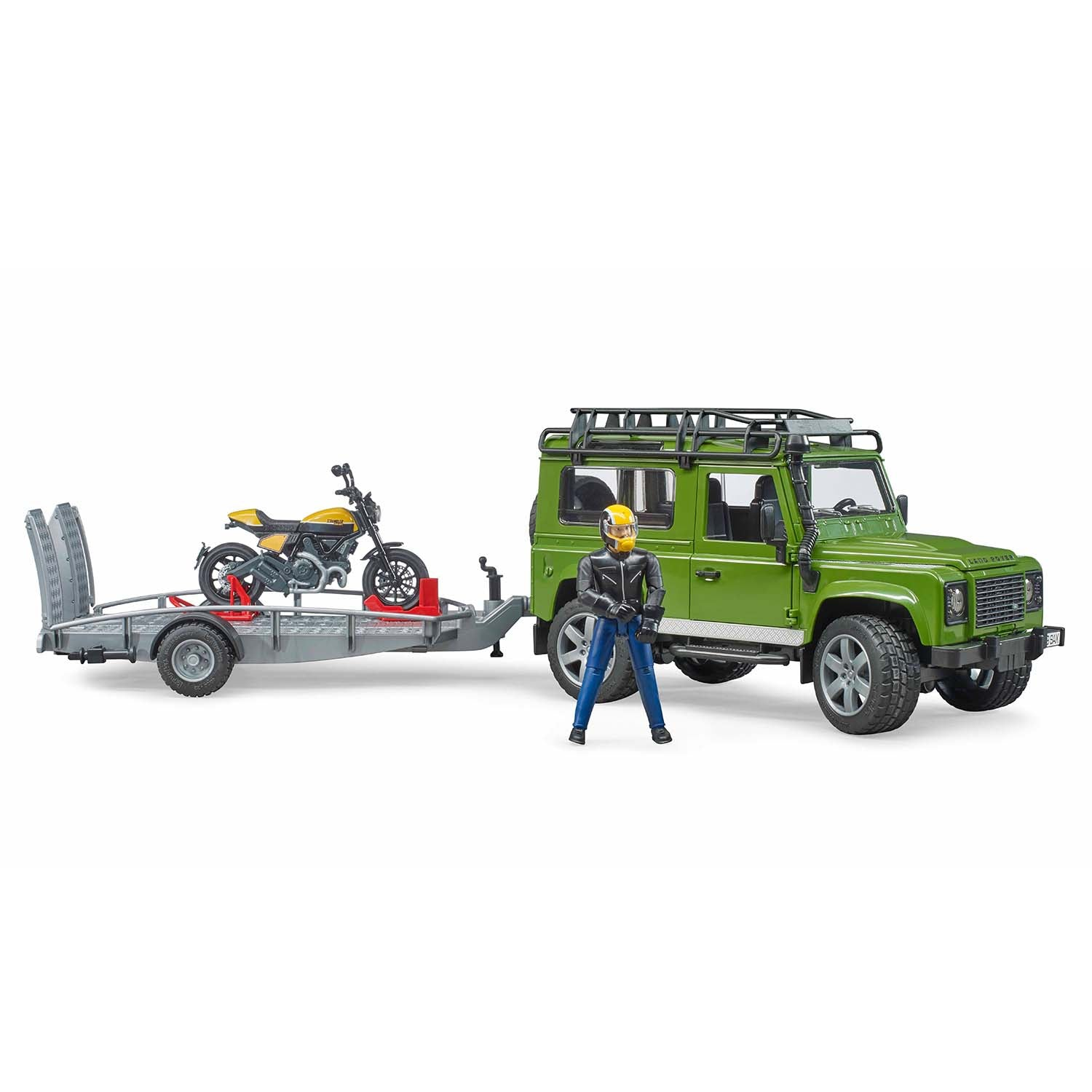 Land Rover Defender with trailer, Scrambler Ducati Full Throttle and driver