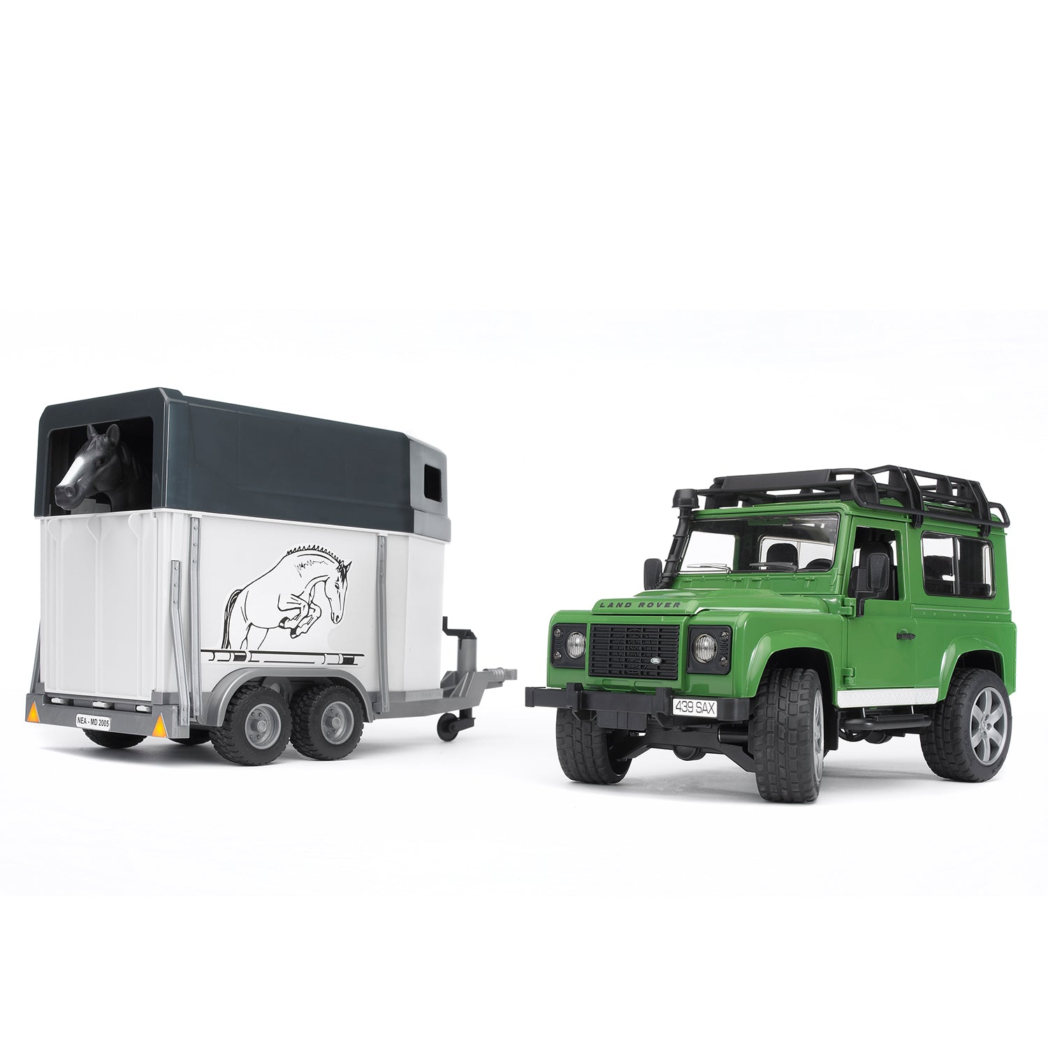Land Rover Defender Station Wagon with Horse Trailer & 1 Horse