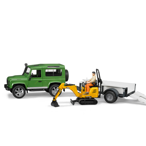 Land Rover Defender Station Wagon with Trailer + JCB Micro Excavator