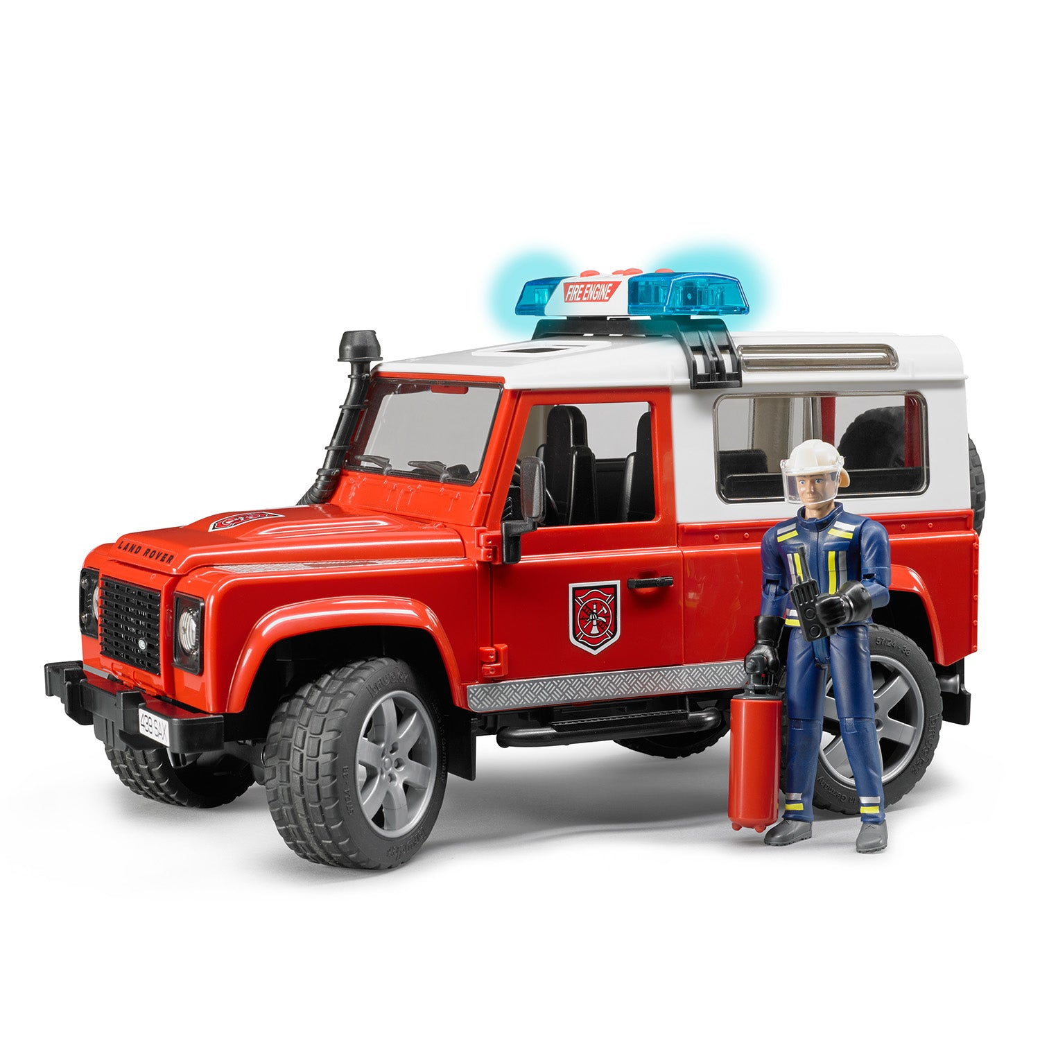 Land Rover Defender Station Wagon Fire Department Vehicle with Fireman