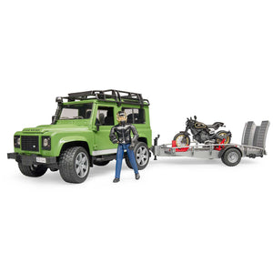 Land Rover Defender Station Wagon with trailer, Ducati Scrambler Café Racer and rider