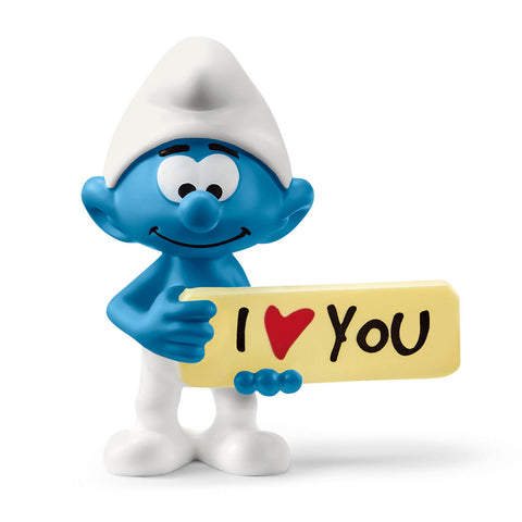 Smurf with sign