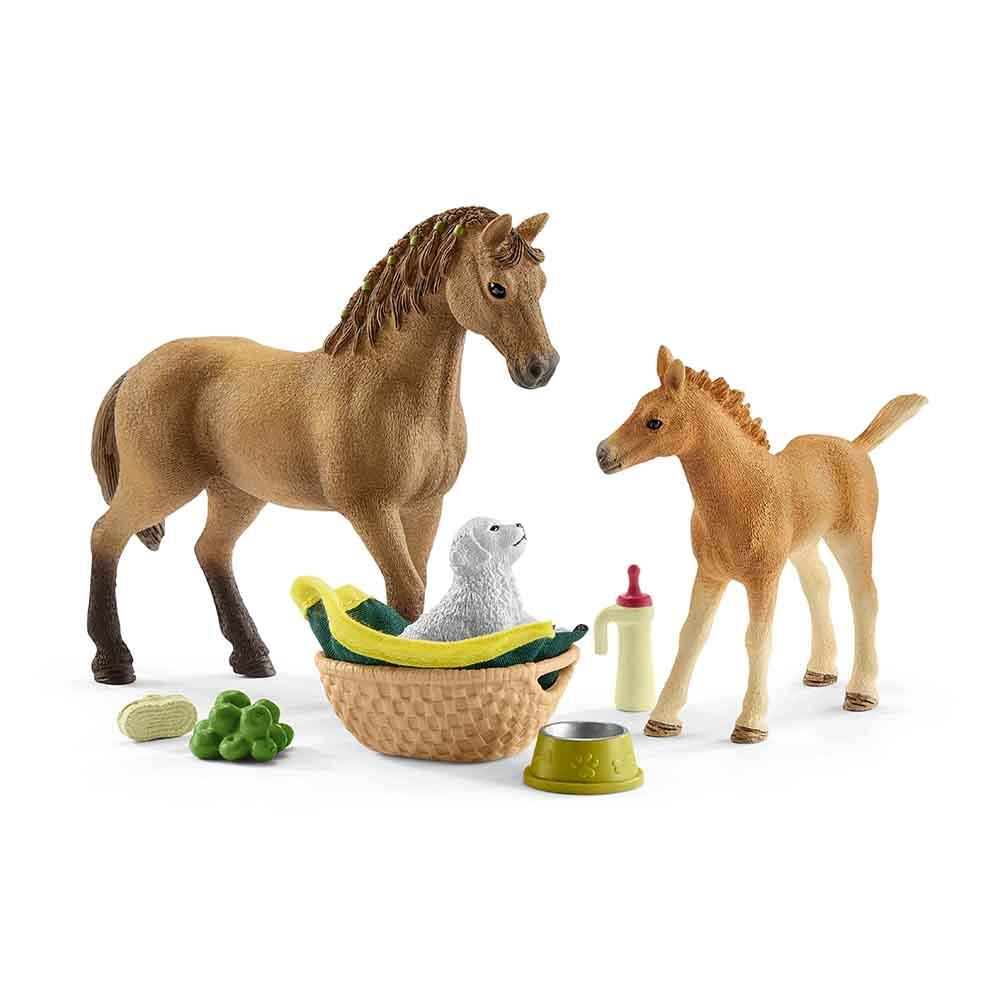 Baby Animal Grooming Set & Quarter Horse with Puppy