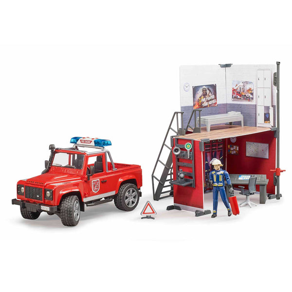 bworld Fire station with Land Rover Defender and fireman