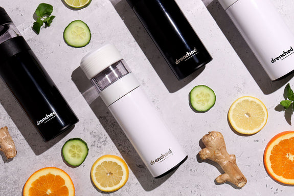 drenched Reusable Smart Infuser Bottle -  Monochrome limited Edition in Black & White