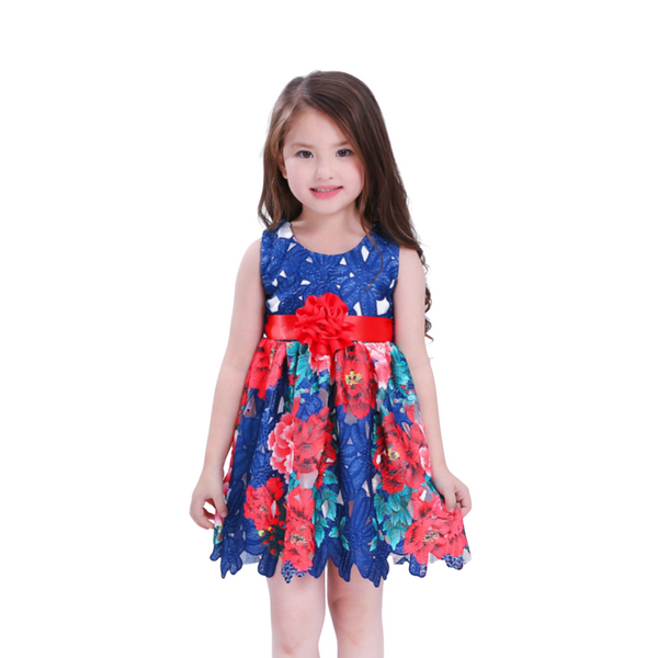 Party wear frock for baby girl - Multi color Print design