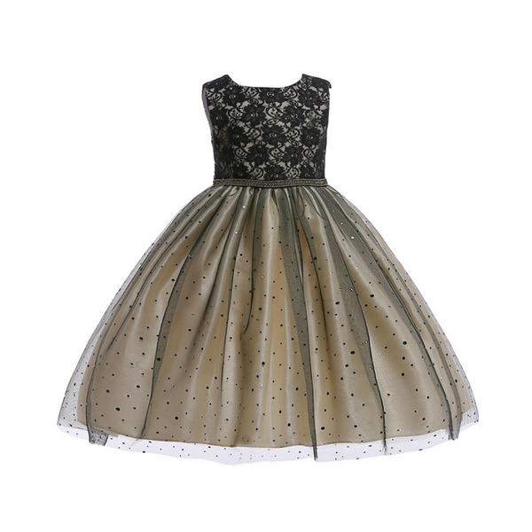 Party wear Net embroidered Gown for Girl - Golden and Black combination
