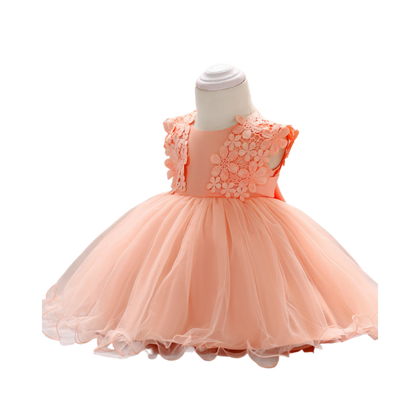 Party wear net gown for girl- Pink color