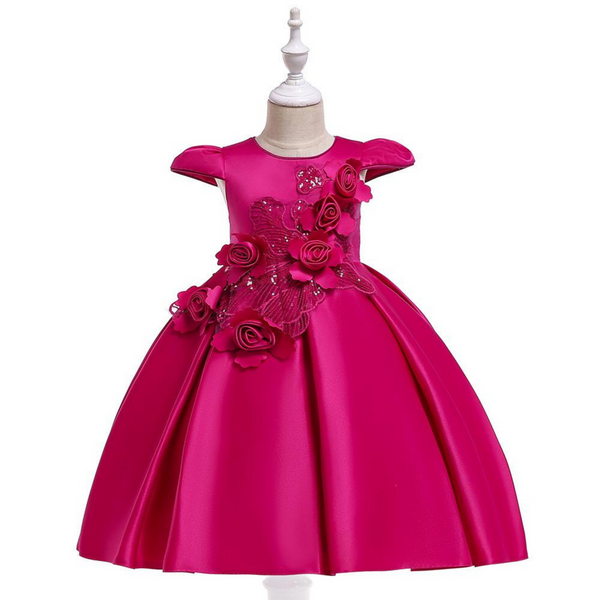 Wedding Party Wear Frock for Kids Girl - Pink Color