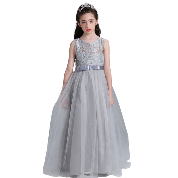 Girl party wear embroidered sleeveless gown- Grey color