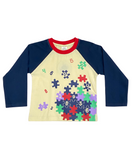 Full Sleeve Cotton Tee for Boys - Blue and Yellow Color