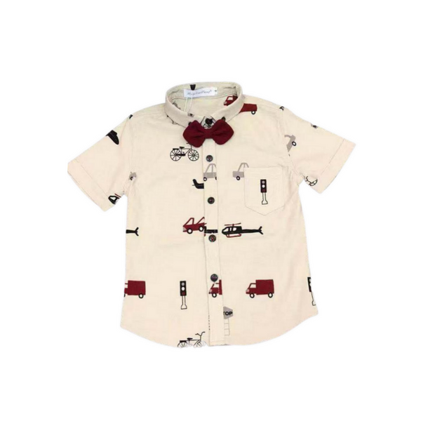 Off White Cotton Party Wear Shirt for Boys