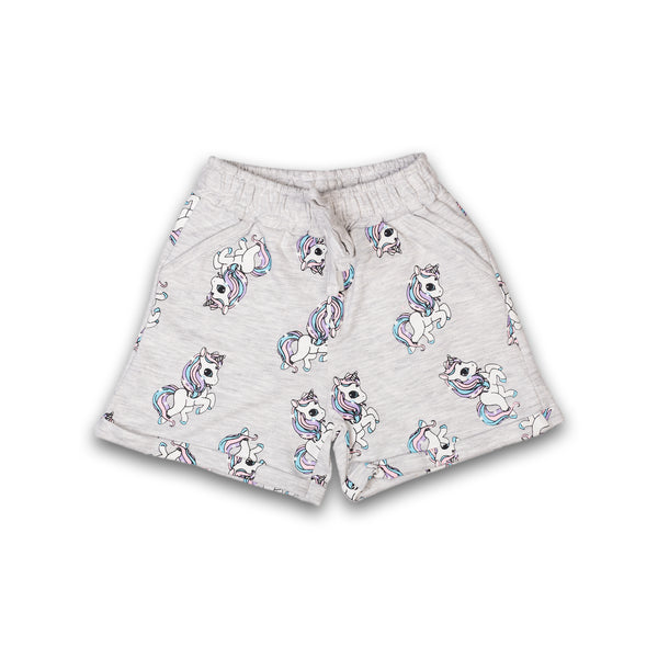 Shorts for Kids Girl in Grey Color with Print Design