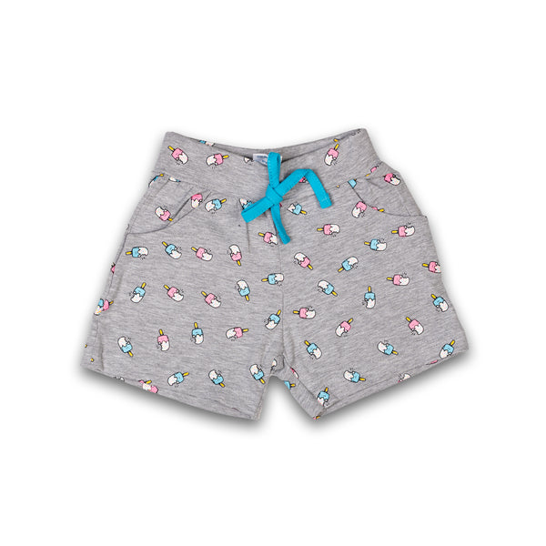Grey Cotton Printed Shorts for Girl