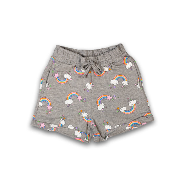 Shorts for Kids Girl in Grey Color with Multi Color Print Design