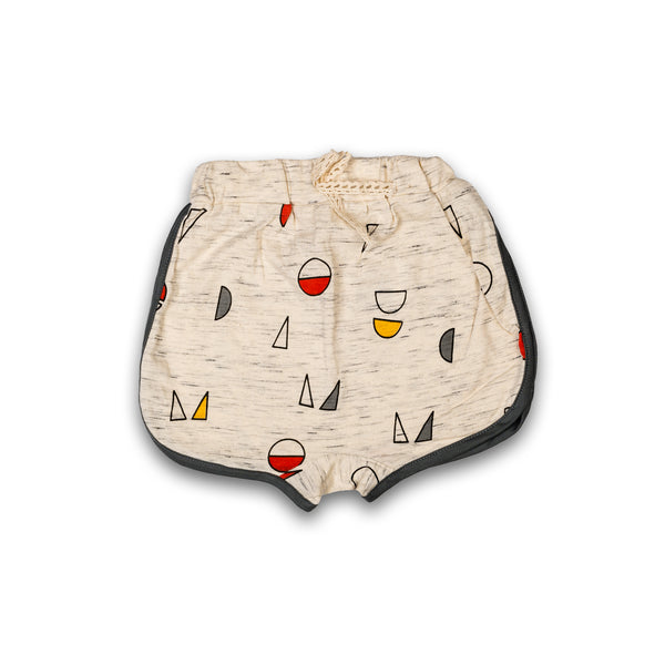 Shorts for Kids Girl in Beige Color with Multi Color Print Design