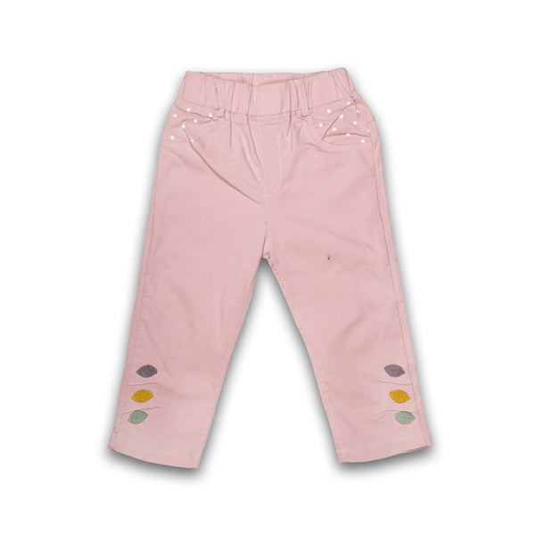 Bottom for Kids Girl Solid Pink Color Jeans Material