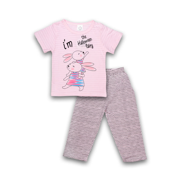 Night suit for Kids Girl Print Design Pink Color