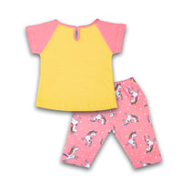Half Sleeve Night Suit for Kids - Pink and Yellow Color