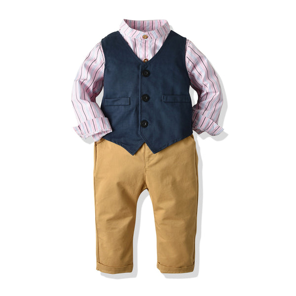 Full Sleeves Shirt With Checked Waistcoat & Brown Pant for Boys - Blue Color