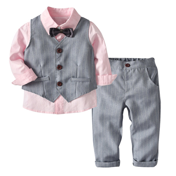 Full Sleeves Shirt With Waistcoat & Bow Tie With Pants for Boys - Grey Color