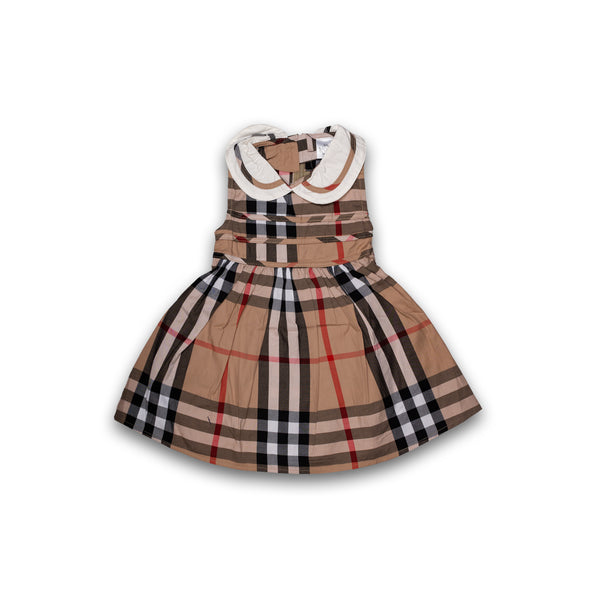 Frock for baby Girl Burberry Print with Frill Patch work