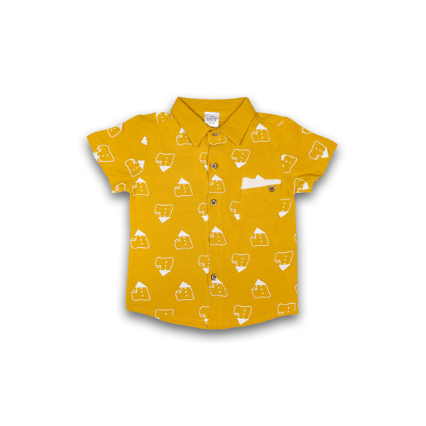 Cotton Shirt for Kids Boys Yellow Color Print Design