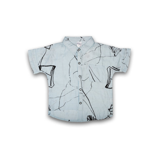 Shirt for Kids Boys Abstract Print in Sky Blue Color
